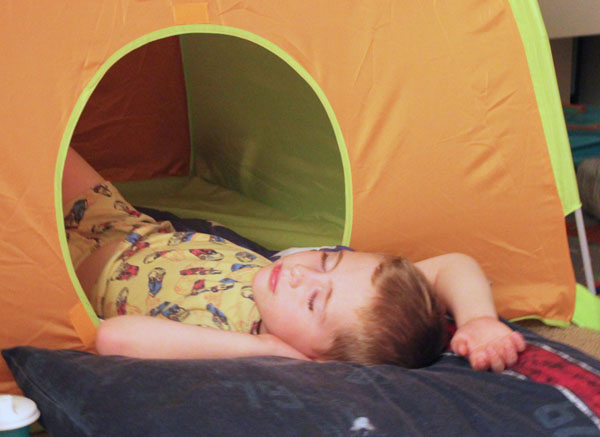 wake up in a tent