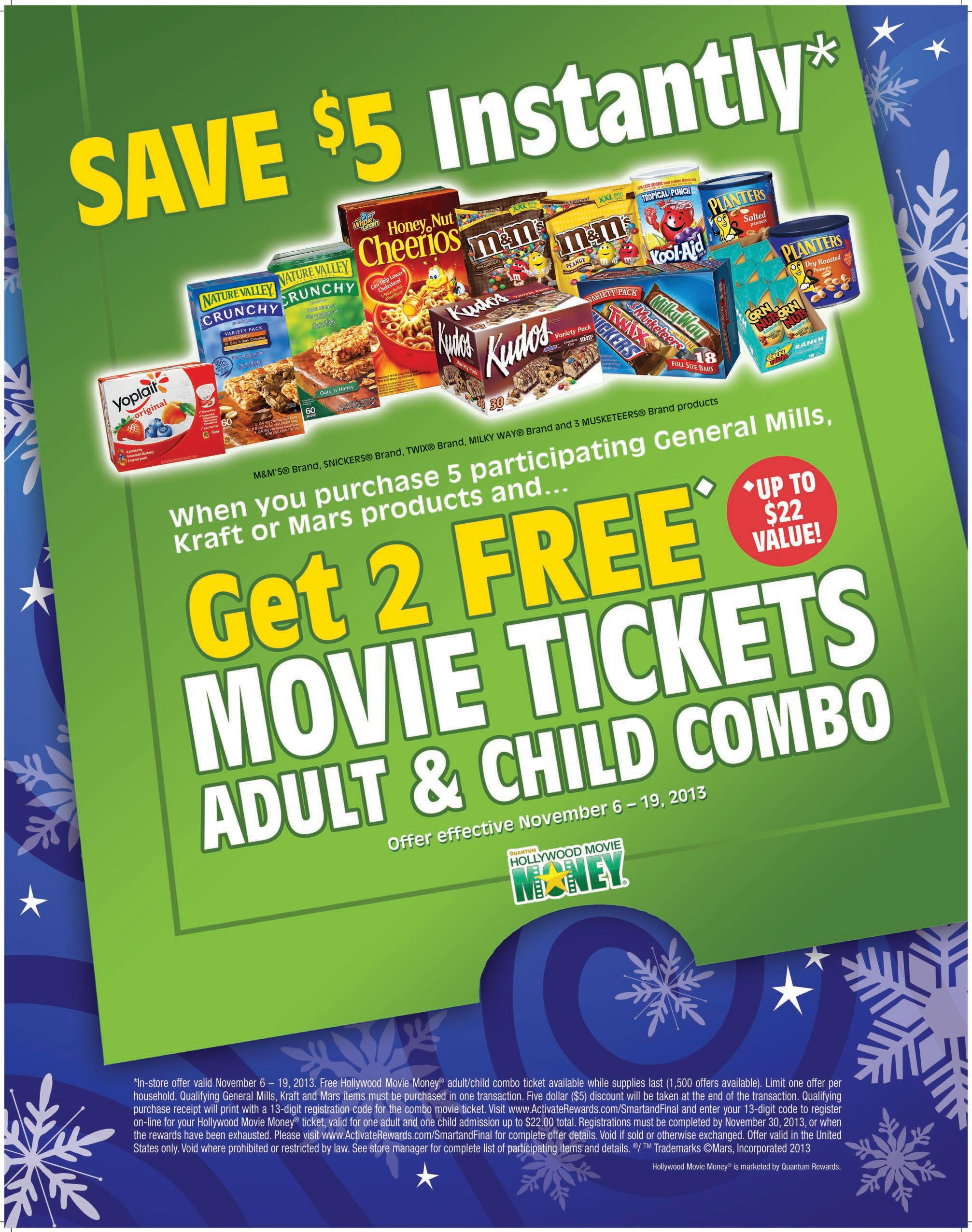 Save 5 and get a free movie ticket #choosesmart #shop