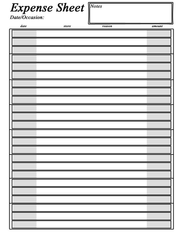 Wonderful Always Expect Moore Throughout Printable Expense Sheet