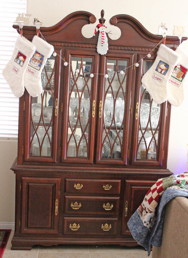 stockings on the china hutch