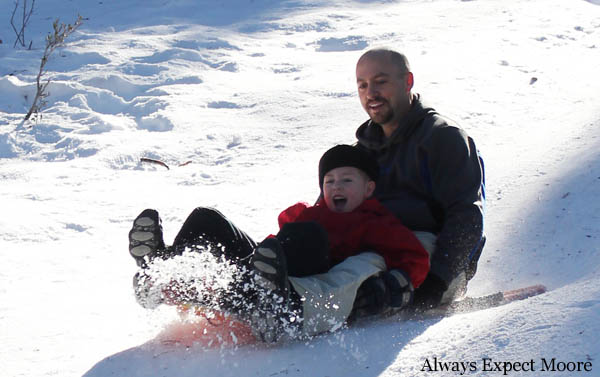 Sledding down the hill