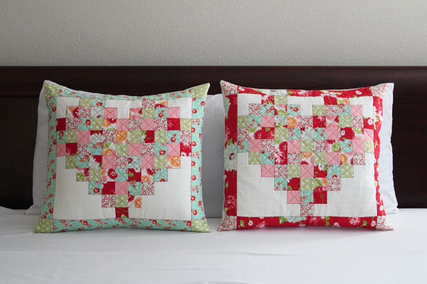 pieced heart pillows