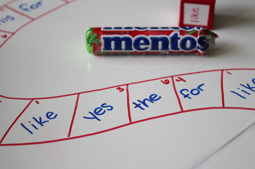 Use favorite candies to play a sight word game