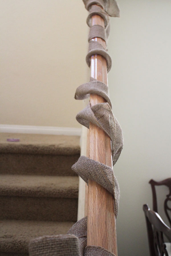 wrap burlap around banister