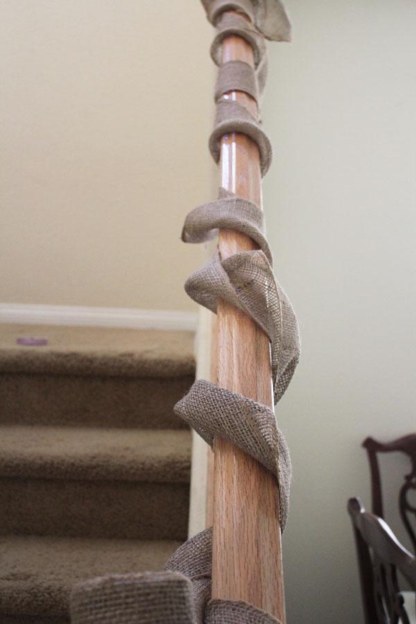 wrap burlap around banister