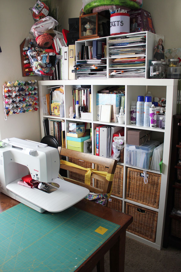 large shelving in craft room