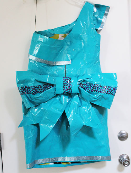 back of Duck Tape Prom Dress
