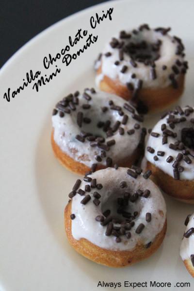 Vanilla Chocolate Chip Mini Donuts