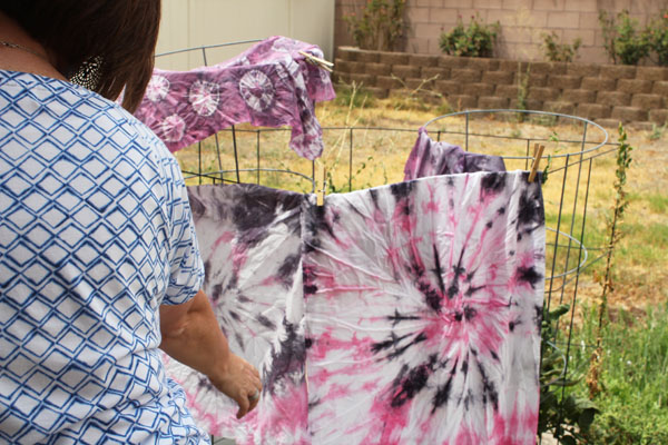 grey and pink tie dye