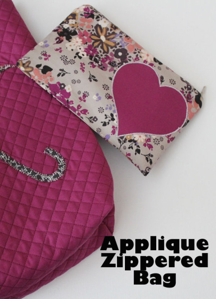 applique zippered bag