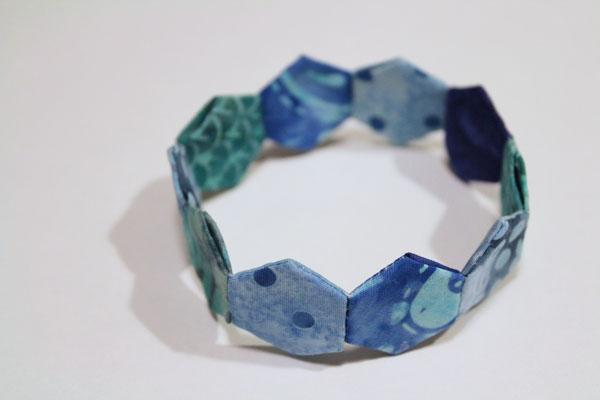 finished mini hexie bracelet