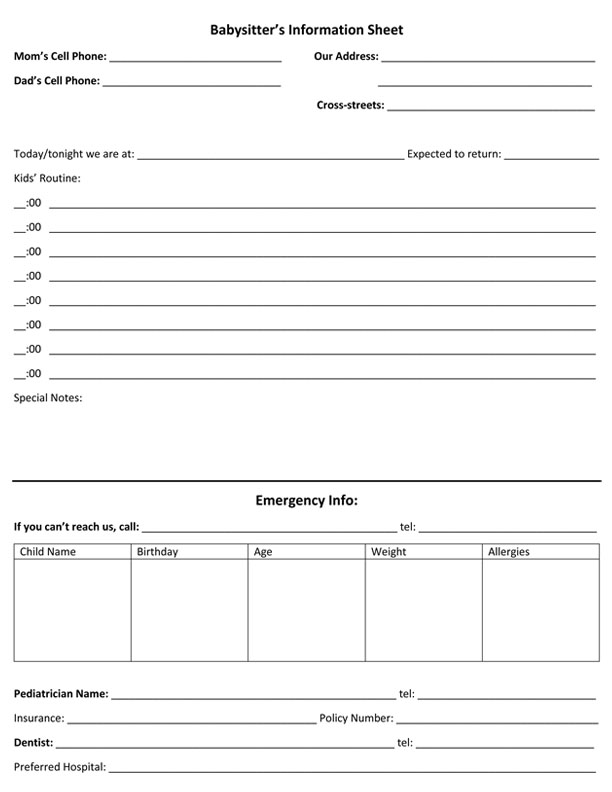 babysitter information sheets