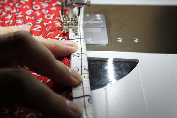 stitch down length of binding