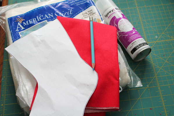 supplies for quilted stocking