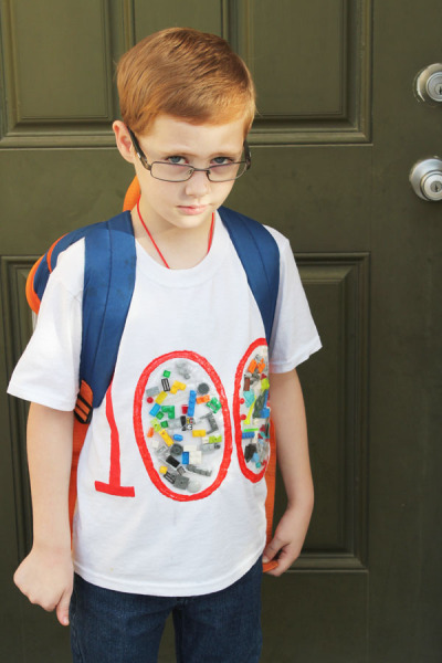 100th day of school shirt with legos