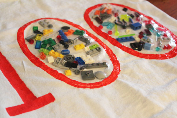 Legos added to a 100th day shirt