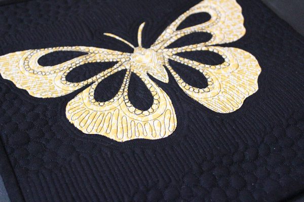 close up of butterfly quilt