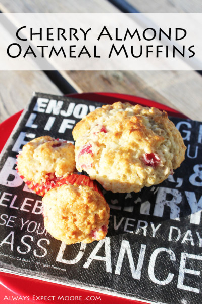 Cherry Almond Oatmeal Muffins