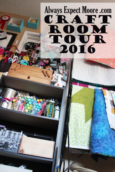 Always Expect Moore Craft Room tour - lots of photos of the pretty details, plus a youtube video where some of the secrets to a pretty space are exposed!