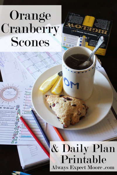 Orange Cranberry Scones - and Printable Daily Schedule at Always Expect Moore