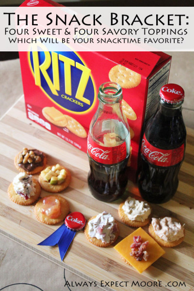 The Snack Bracket - Eight delicious recipes all perfect for topping Ritz crackers. Try to choose your favorite from these four sweet and four savory toppings. They are all easy to make, and you'll look like a snacking savant when you serve them for the big game.
