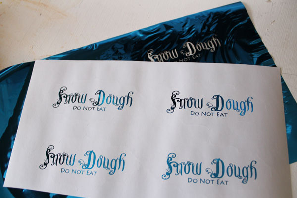 foiled snow dough labels