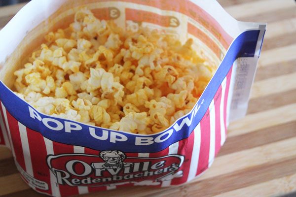 popcorn in the easy pop-up bowl