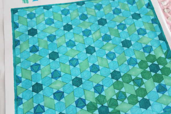 colored quilt from quilt coloring book pages