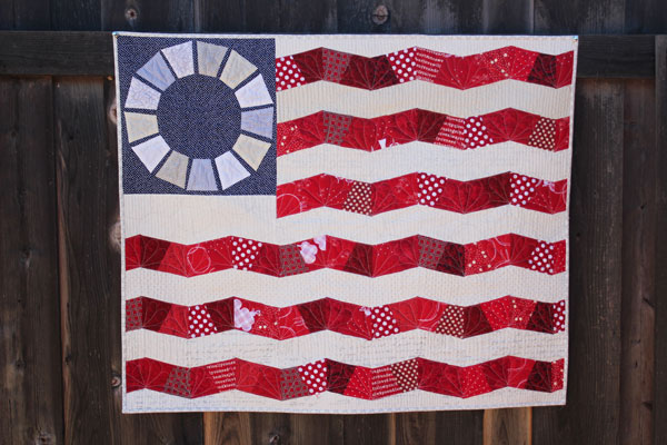 Scrappy flag quilt - simple to make, easy to follow pattern with EPP instructions
