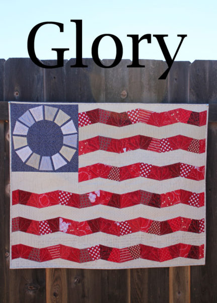 Glory: Scrappy Flag Quilt Pattern. Uses English Paper Piecing and traditional piecing techniques.