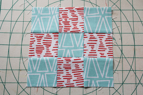 finished nine patch quilt block