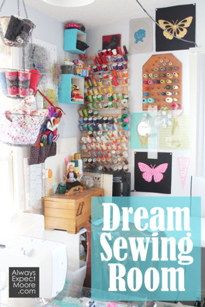 Dream Sewing Room! Isn't this the dreamiest little sewing corner? Found over at www.AlwaysExpectMoore.com