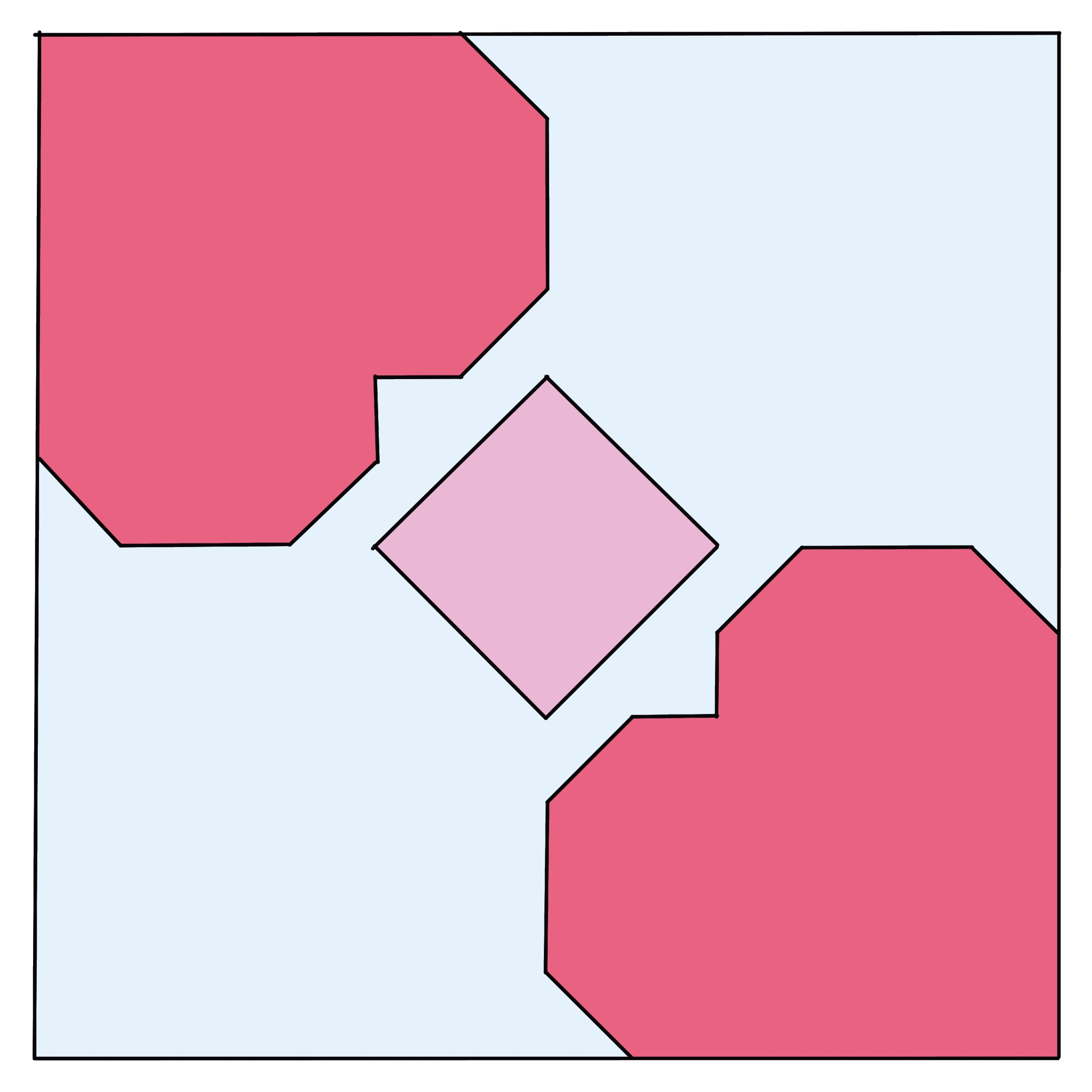 illustration of qhilt block - two hearts in corners with block in the middle